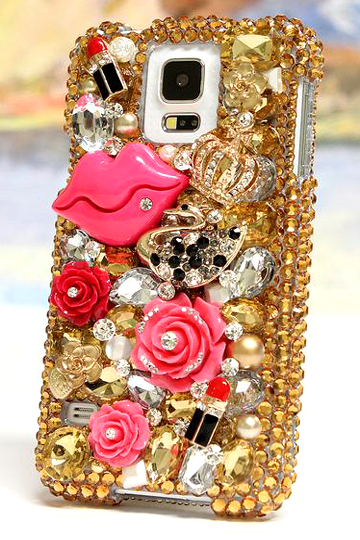 Samsung Galaxy S5 Case New Protective Golden Lady 3D Design glitter phone  cover accessories for girls 2fa9280062