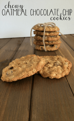 Chewy Oatmeal Chocolate Chip Cookies; Made with Whole Wheat Flour, Old Fashioned Oats & Brown Sugar. TrishSutton.com