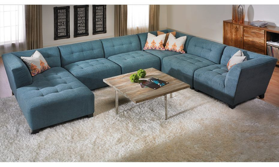 U Shape Blue Suede Tufted Sectional Sofa With Right Chaise Lounge ...