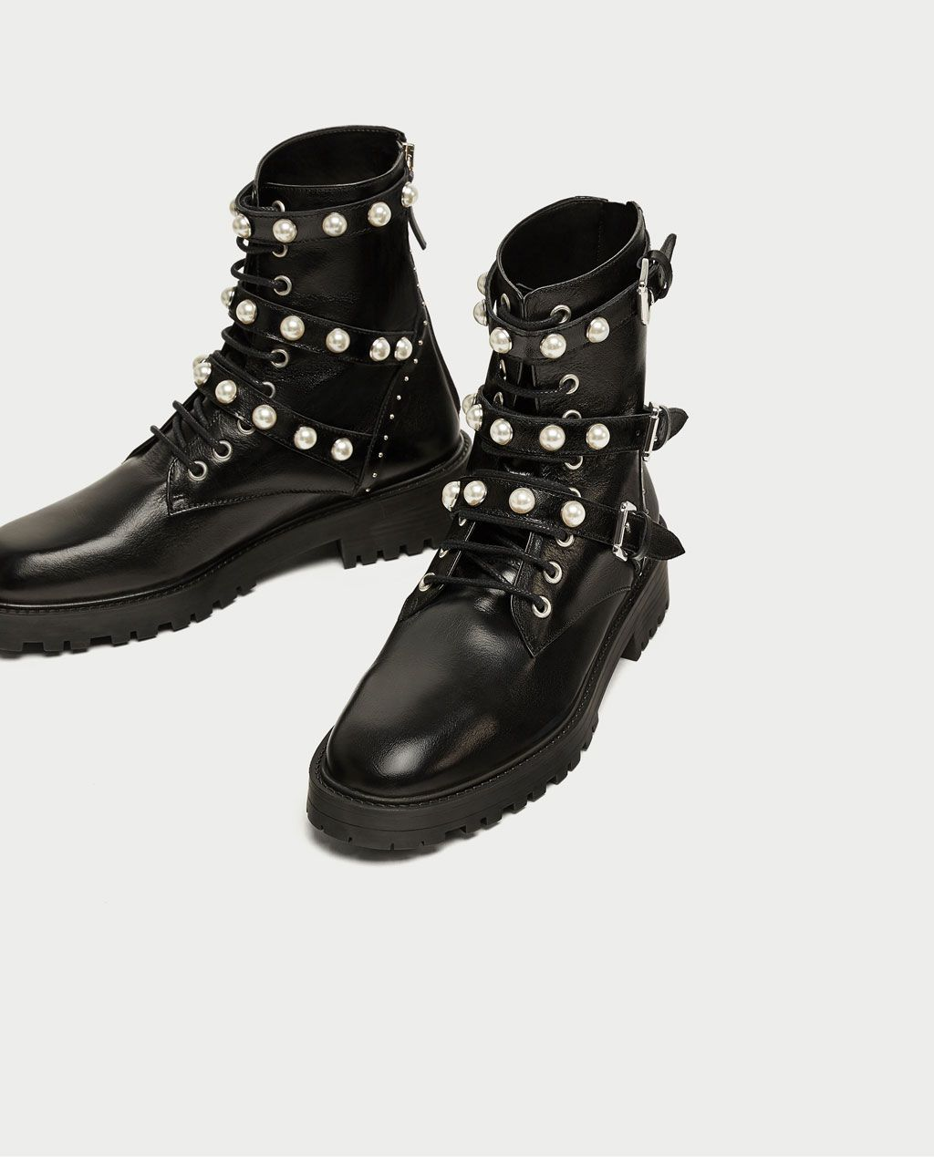 LEATHER ANKLE BOOTS WITH FAUX PEARLS - View all-SHOES-WOMAN