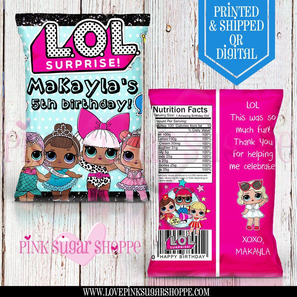 Lol Surprise Favor Bags Custom Chip Birthday Party Digital Printable Printed