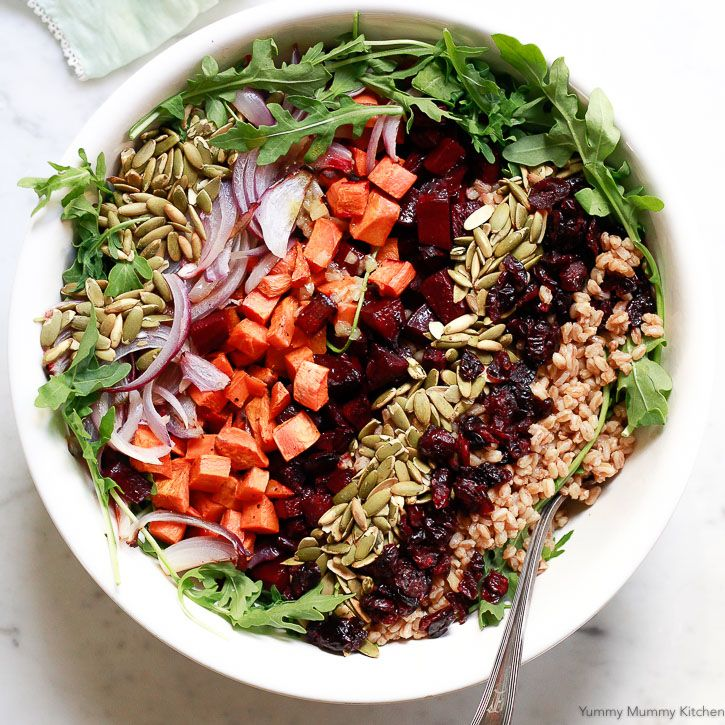 This hearty farro salad with roasted beets and sweet potatoes is perfect for autumn and winter. Serve with homemade apple cider vinaigrette.