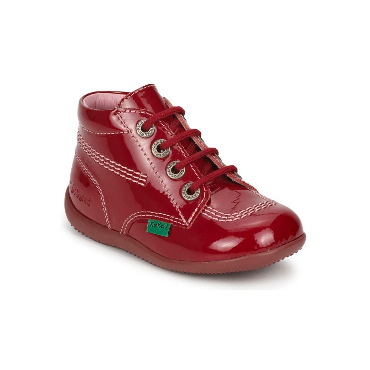 22cb37019 Botines clásicos de charol rojo de Kickers para niño o niña en spartoo.es   zapatos  botitas  niños