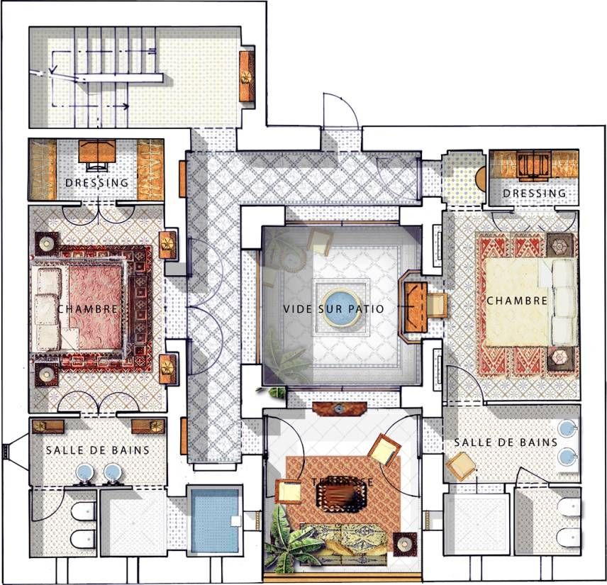 Family Riad In Marrakesh Royal Mansour Home Design Plans Courtyard House Plans Living Room Floor Plans