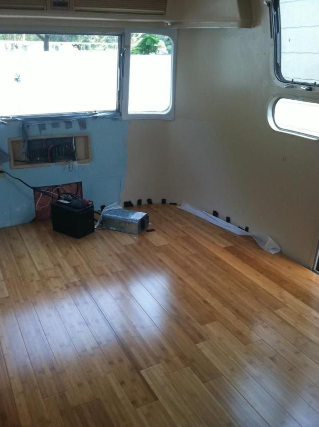 Painting And Installing The Bamboo Floors Airstream Interior Bamboo Flooring Installing Bamboo Flooring