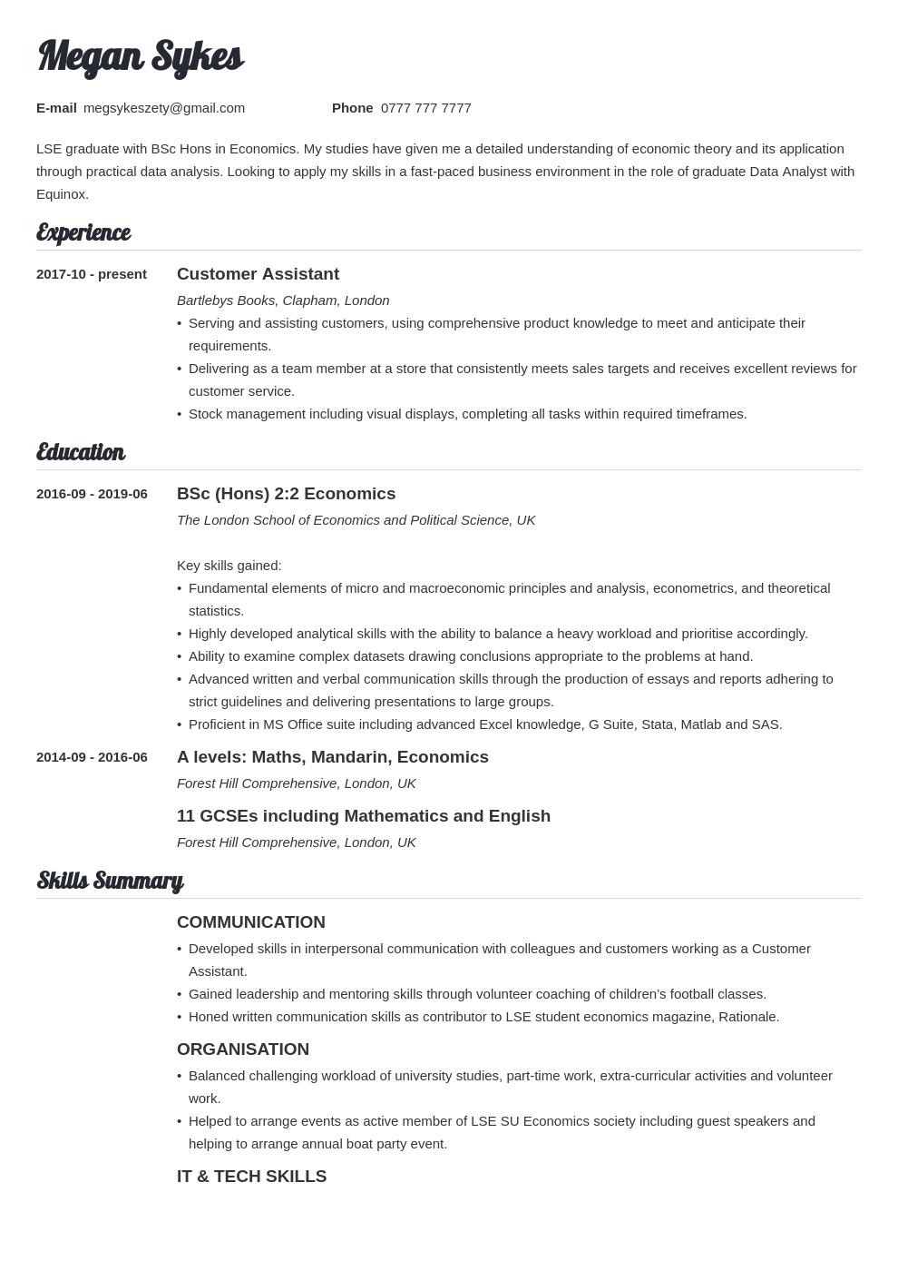 uk graduate cv example template valera in 2020 Cv