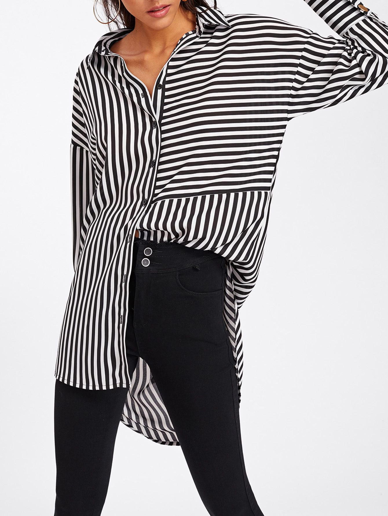 5069965eb7 Shop Dolphin Hem Mixed Stripe Shirt online. SheIn offers Dolphin Hem Mixed  Stripe Shirt & more to fit your fashionable needs.