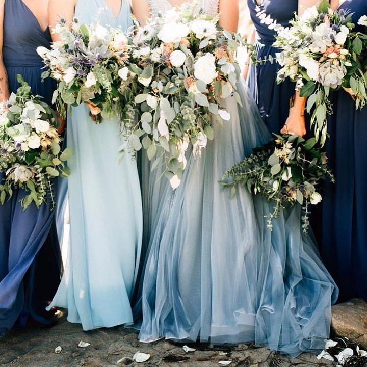 Beautiful Shades Of Blue Mix And Matched Bridesmaid Dresses
