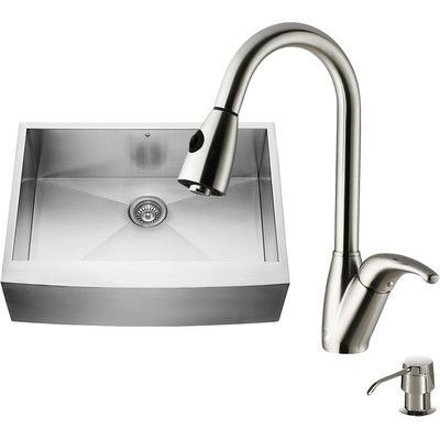 Vigo 30 inch Farmhouse Apron Single Bowl 16 Gauge Stainless Steel Kitchen Sink with Romano Stainless Steel Faucet, Grid, Strainer and Soap Dispenser