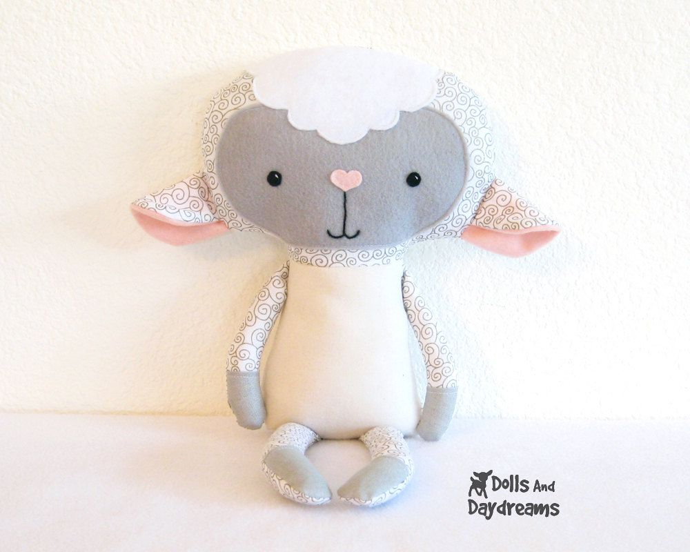 Lamb pdf sewing pattern stuffed toy animal sheep softie for Sewing templates for stuffed animals