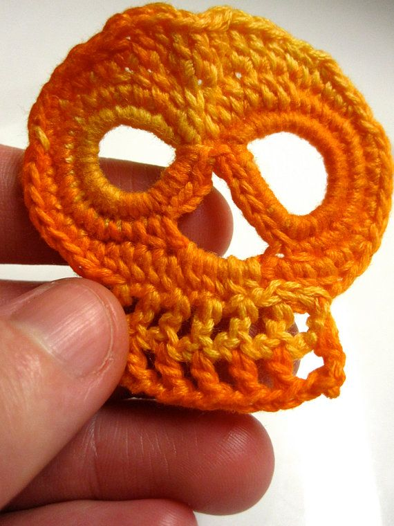 Crochet Skull Applique Orange by slappytheseal on Etsy, $4.00 ...