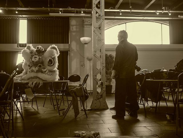 Lion dance, Chinese New Year, sepia, portrait, Chinese lion,