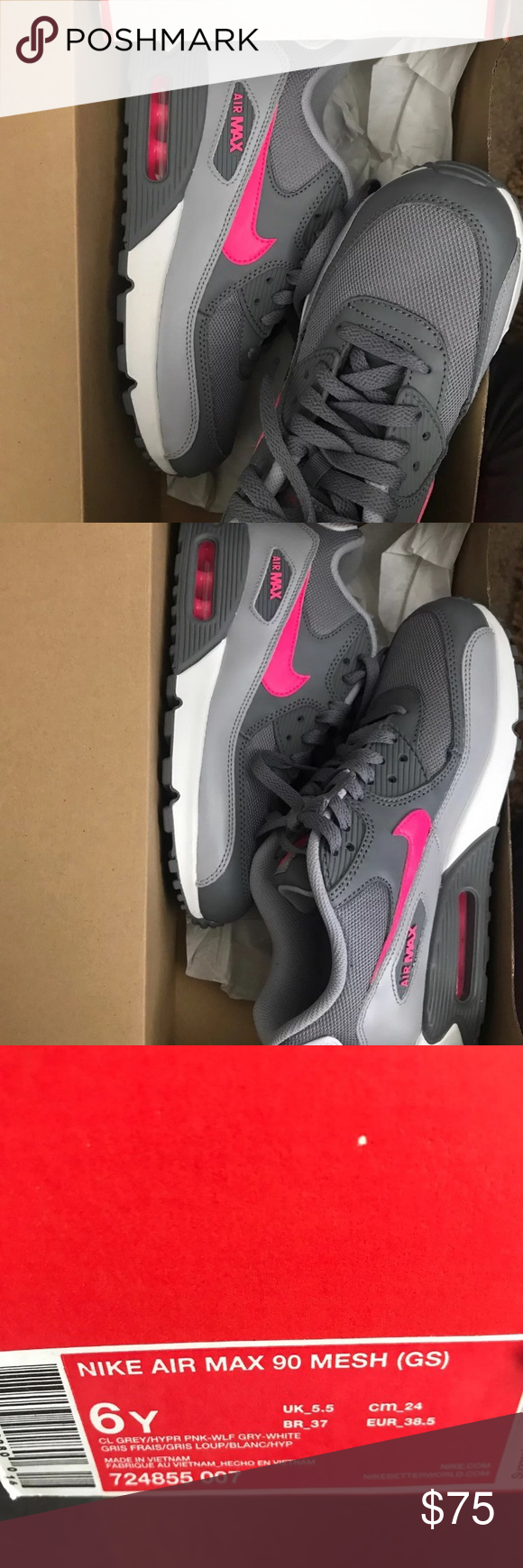 new products 2064a c9651 New Nike air max 90 Boys Gradeschool 6Y new grey hyper pink Nike Shoes  Sneakers