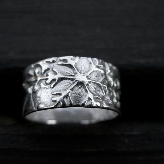Snowflake Ring Band Fine Silver by MyLittleJems on Etsy 8000