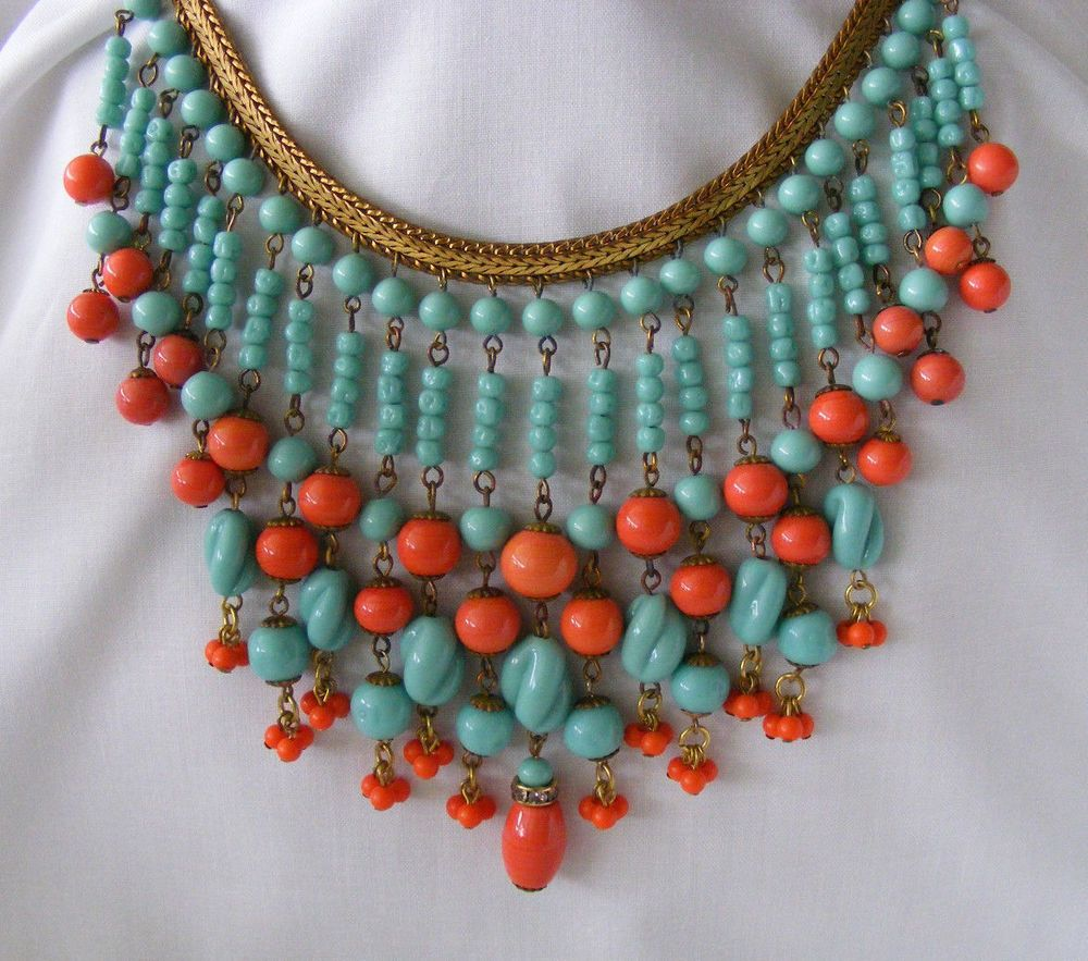 Spectacular Vintage Miriam Haskell Signed Turquoise And