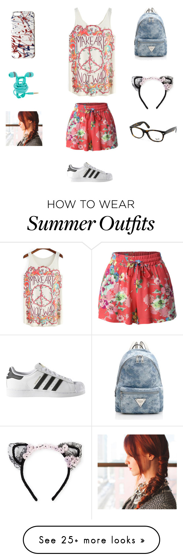 """Make art not war outfit"" by reaganlucas2003 on Polyvore featuring LE3NO, adidas, Marc Jacobs, MAISON MICHEL PARIS and Ray-Ban"