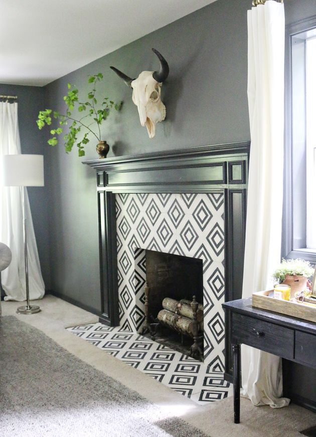 The Moody Living Room Makeover Reveal Jones Design Company Living Room Tiles Home Fireplace Fireplace Tile Surround