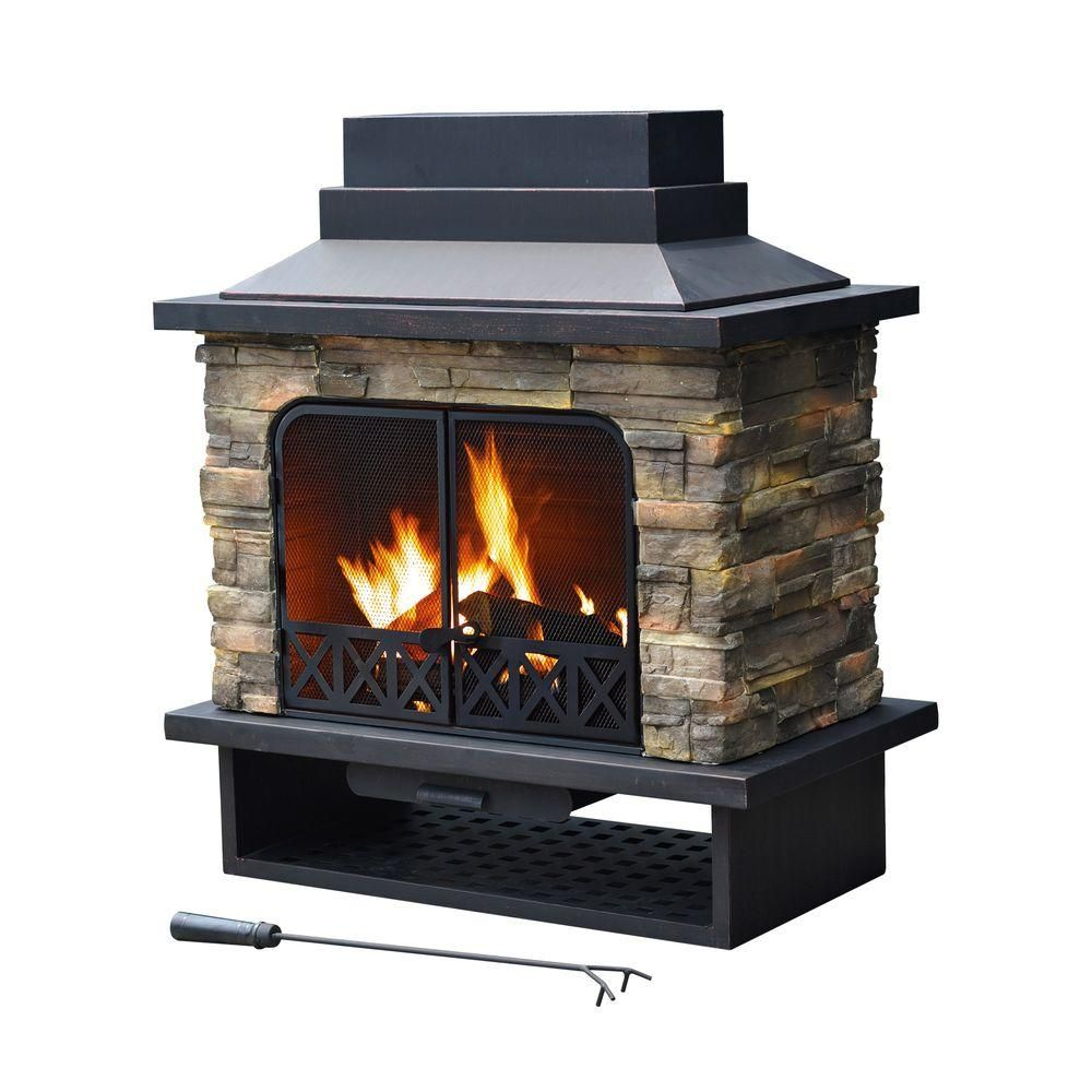 Sunjoy Farmington 42 In X 24 In Steel Faux Stone Outdoor Fireplace L Of079pst 1 The Home Depot Outdoor Wood Burning Fireplace Backyard Fireplace Outdoor Fireplace