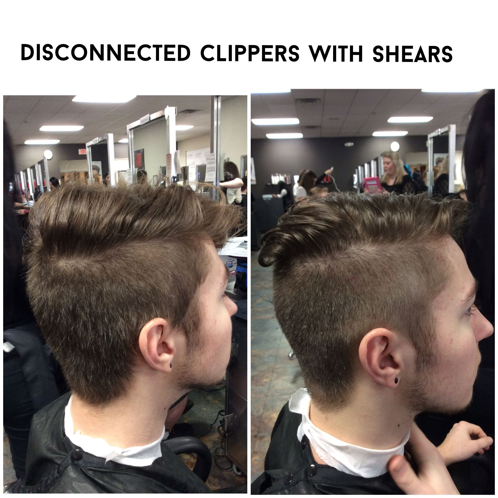 Disconnected men\'s haircut, clippers with shears on top, 3 guard ...