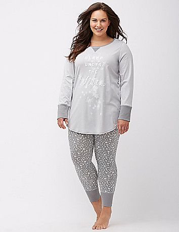 To gift or to get, our printed PJ sets are perfectly cozy in a  soft knit with ribbed trim. Each 2-piece set includes a long sleeve tee  and coordinating leggings with ribbed waistband and hem. lanebryant.com