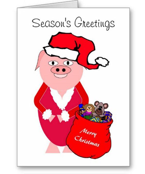 Christmas Pig Christmas Card