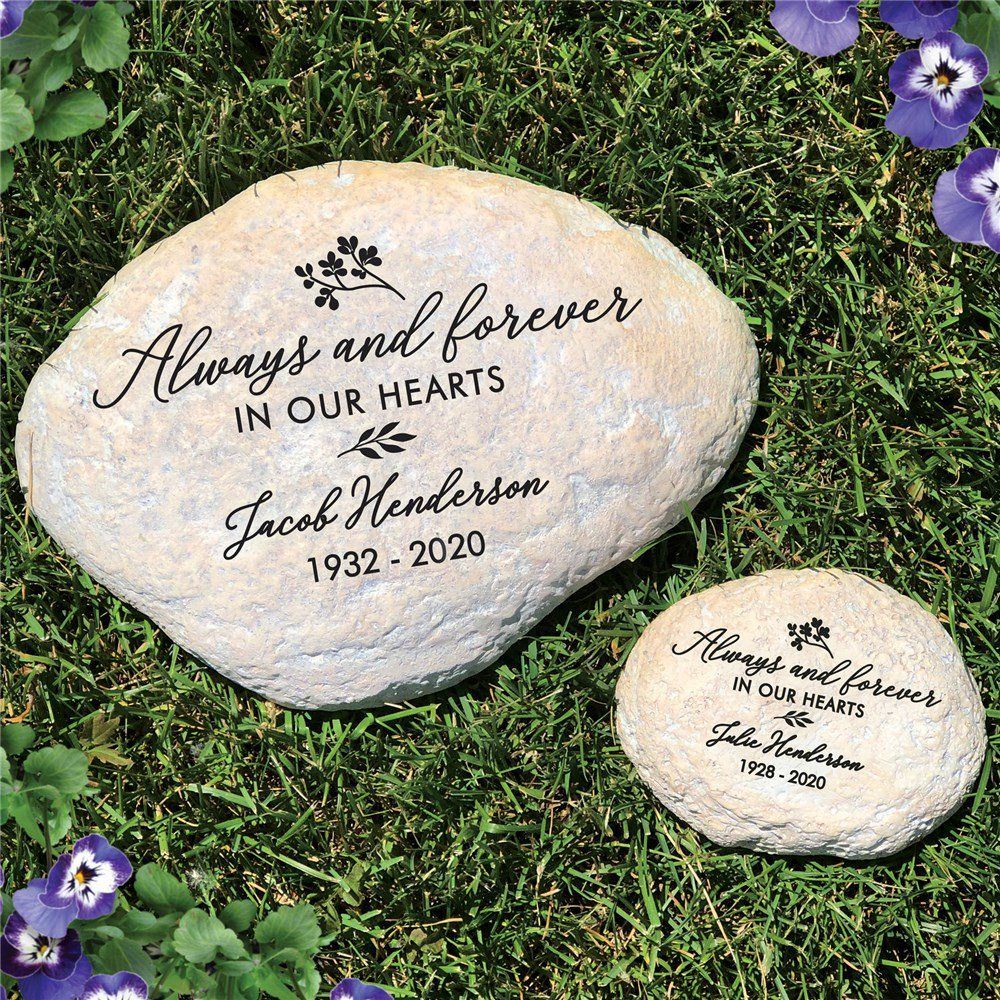 Engraved Always And Forever In Our Hearts Memorial Garden Stone Memorial Garden Stones Memorial Garden Personalized Garden Stones