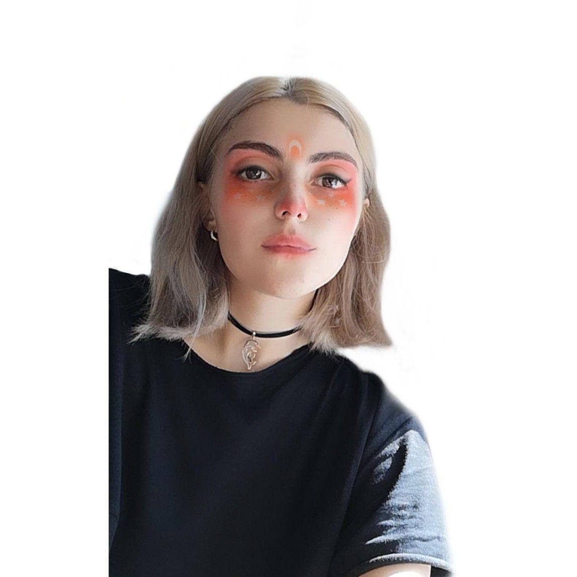 Mask, girlphoto, blonde,short haircut,