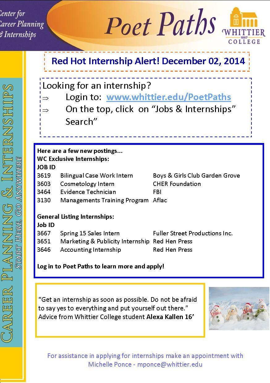 12.01.2014 Bilingual Case Work Intern, Cosmetology Intern
