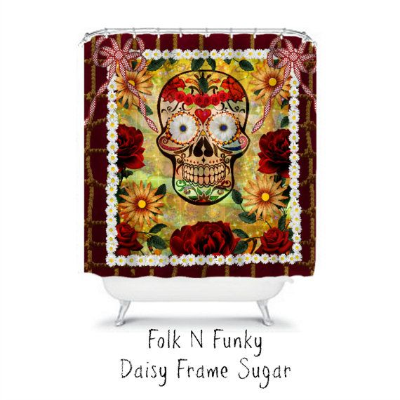 Shower Curtain Sugar Skull Daisies Roses and by ...