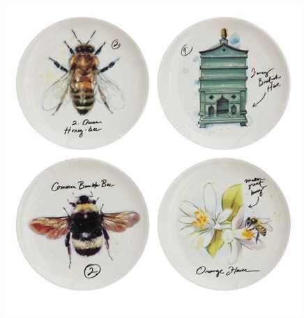 4 Round Stoneware Plate w/ Bee, 4 Styles ©