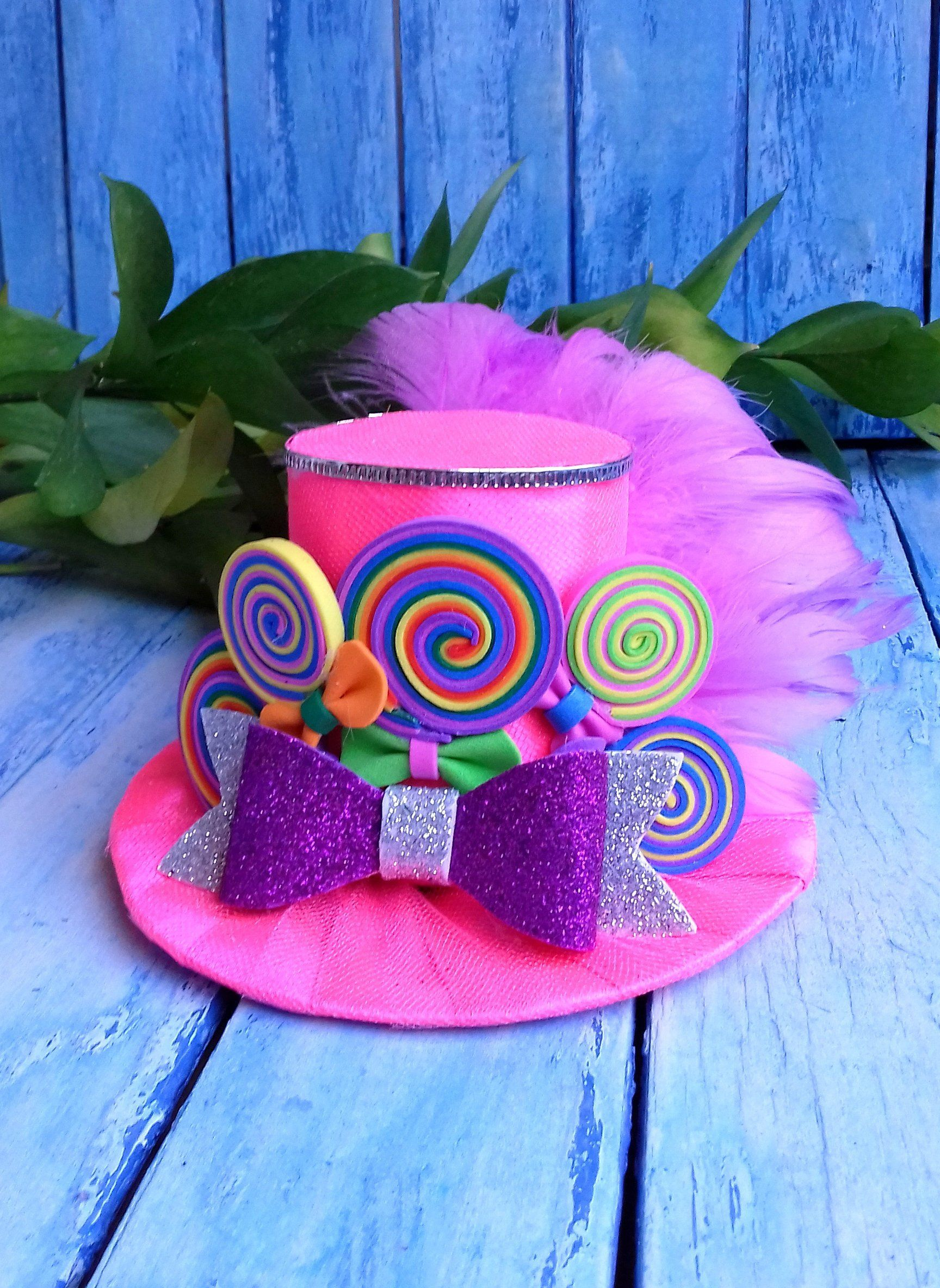 Rainbow mini top hat, Pink mini top hat, Fascinator, Birthday party hat, Mad hatter hat, Tea party hat, Rainbow headband,Alice in Wonderland #crazyhatdayideas