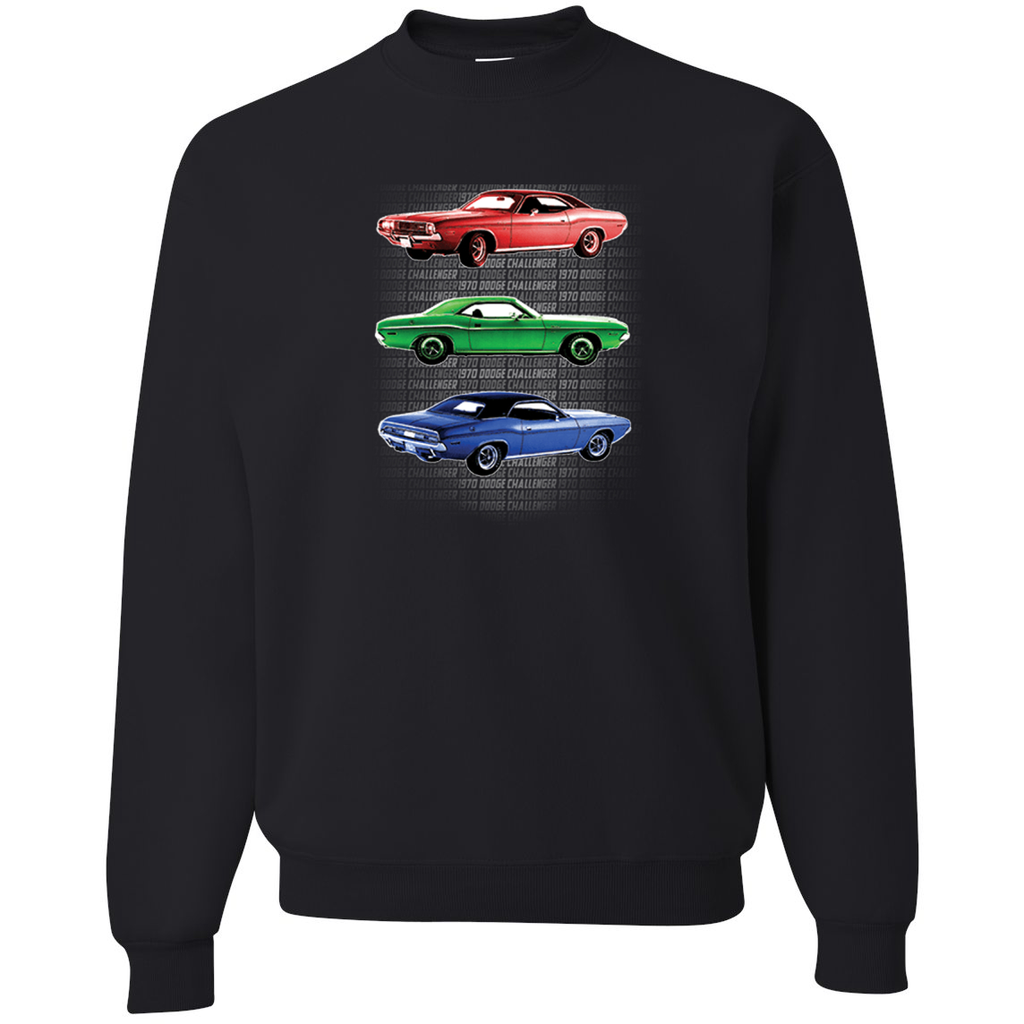 1970 Dodge Challenger Red Green Blue Classic Roadster Cars Cars and Trucks Crewneck Graphic Sweatshirt