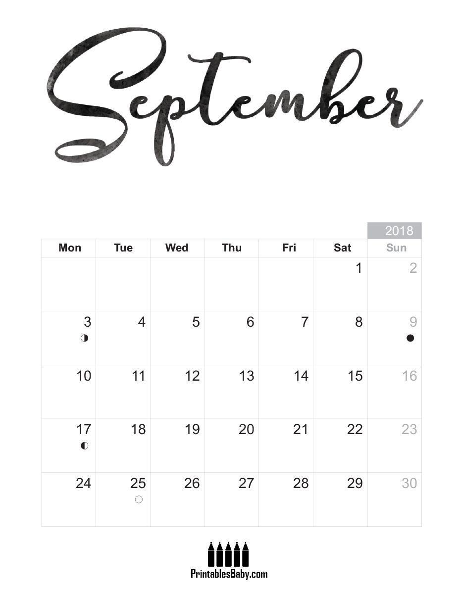 print september 2018 calendar