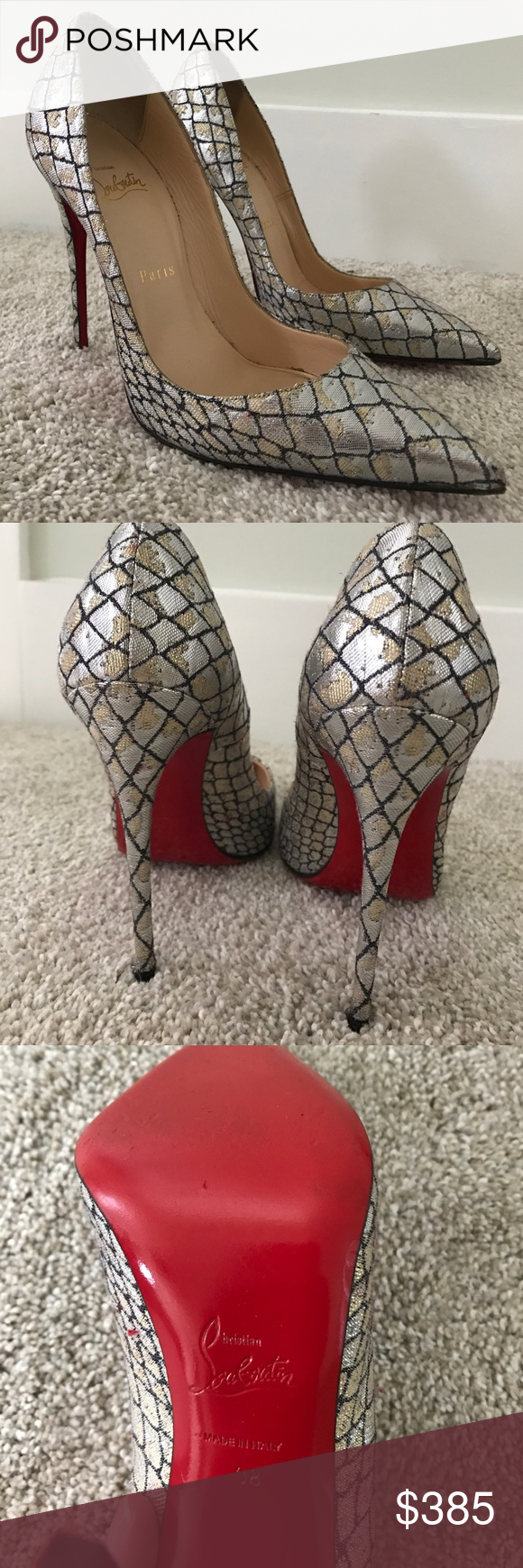 "Christian Louboutin Heels Beautiful Woven Heels - Re-Posh.  These are so unique but they are too small for me.  Previous posher said ""professionally re-painted soles"".  Snake embossed point toe pump.  4.5 inch heel height.  Includes dust bag.  Great condition! Christian Louboutin Shoes Heels"