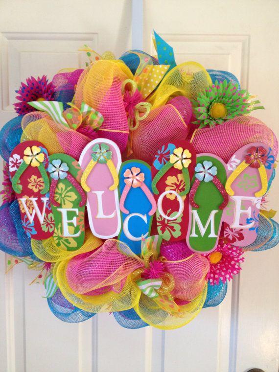 f36076008025 Flip Flops Welcome Summer Wreath by DazzlinDoorzbyKristi on Etsy ...