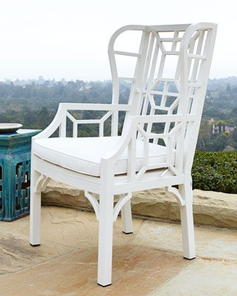 White Chinoiserie Outdoor Wing Chair   Horchow