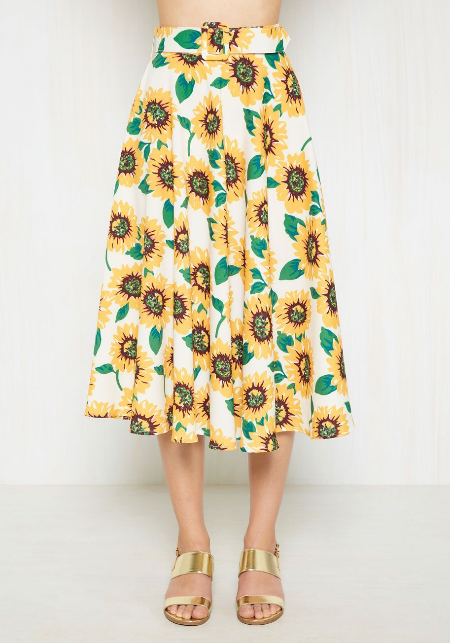 aab0bcafbbf0 It's a Vivacious Circle Skirt. Say bye-bye to repetitive style by shaking  up your ensemble rotation with this sunflower-printed skirt! #white  #modcloth