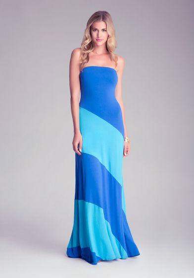 Colorblock Strapless Maxi Dress