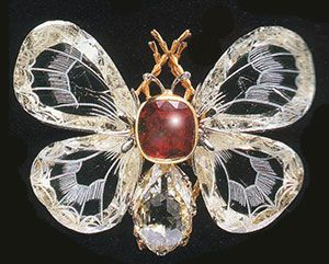 ~ Boucheron, diamond & ruby butterfly brooch  (The wings are made of engraved diamonds.)