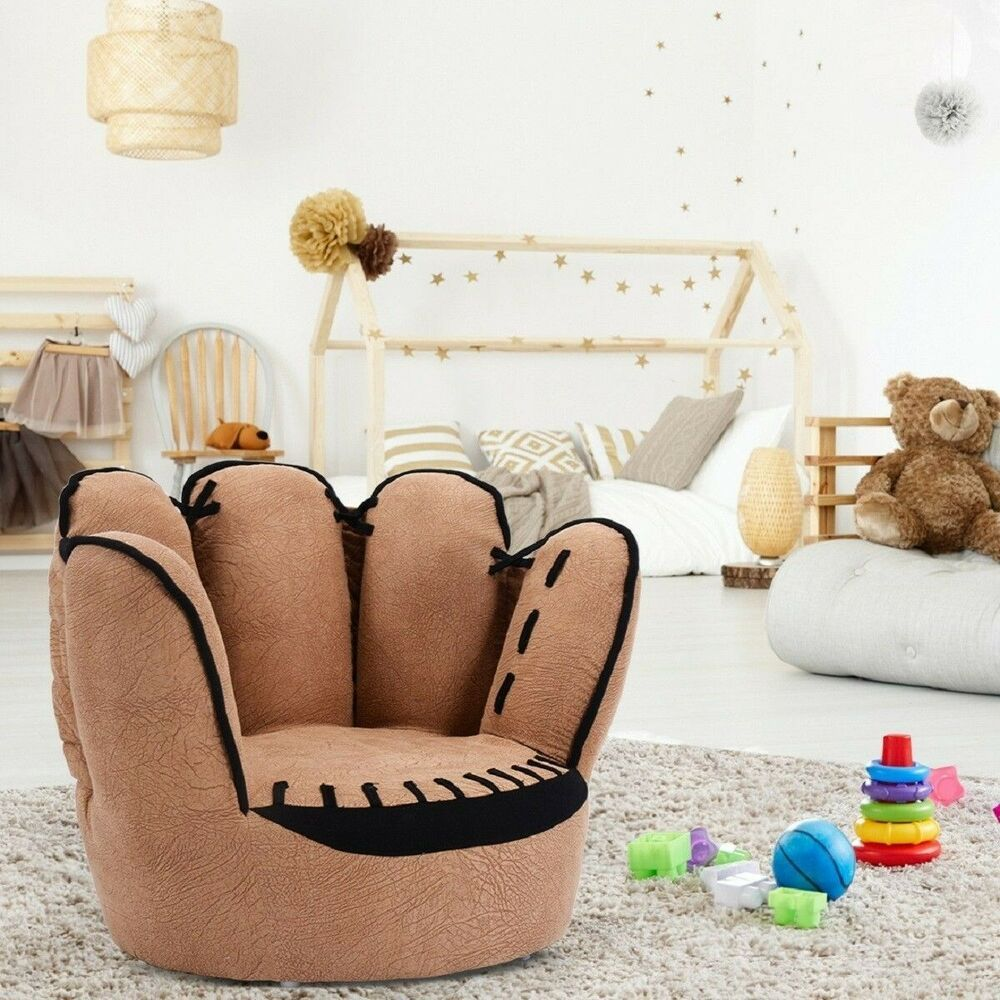 Baseball Glove Shaped Sofa Couch Chair Five Finger Brown For Kids Padded Cushion Unbranded Kids Sofa Toddler Chair Toddler Rooms #toddler #living #room #chair