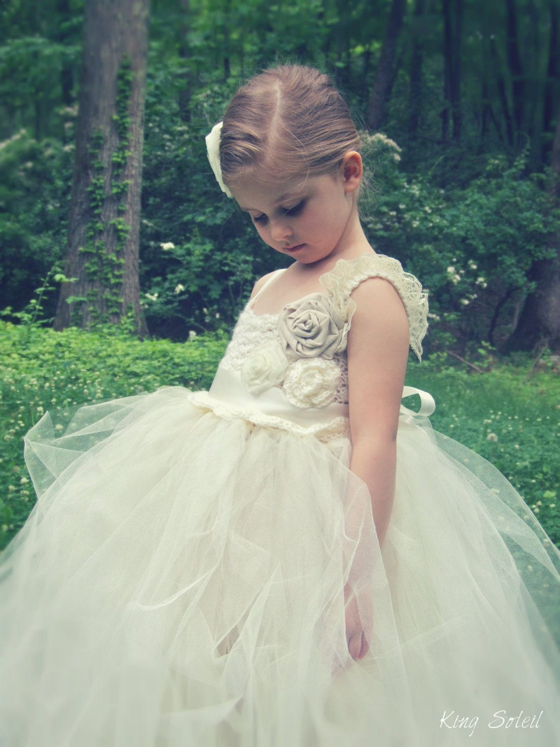 Flower girl dress roses crystals and lace tulle tutu by kingsoleil