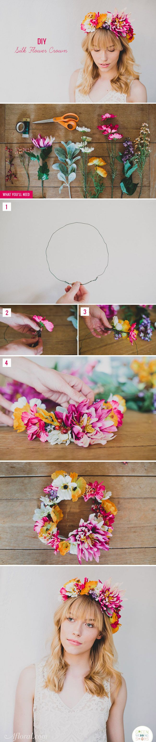 Diy silk flower crown centerpieces pinterest bridal flowers beautiful boho bridal flower crown made by green wedding shoes with flowers from afloral find everything you need to make your own at afloral izmirmasajfo