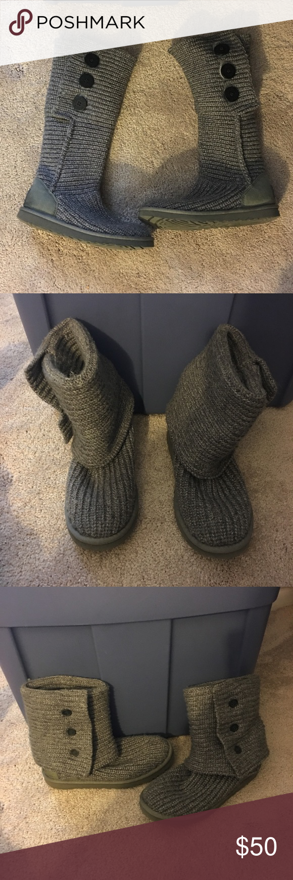 Ugg Classic Cardy Boots in Grey Ugg classic cardy boots. They're grey...size 7 (fits women's normal size 8). They've been worn, but have been taken care of and are in pretty good shape. Lots of wear left in these. Very comfortable boots. Can be worn up or folded down. UGG Shoes