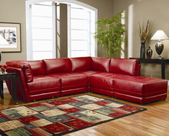 Wohnzimmer Einrichten Toller Teppich Rotes Sofa
