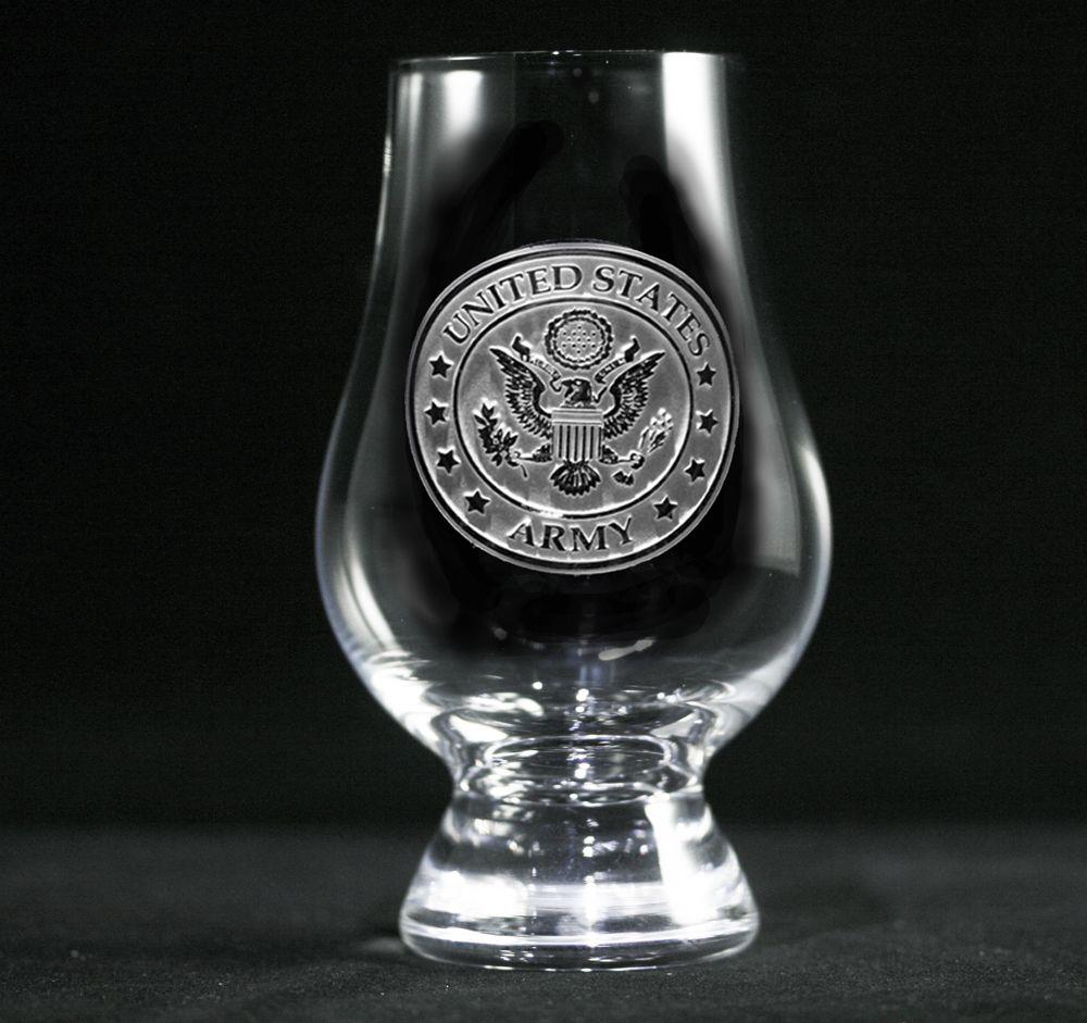 engraved army glencairn whisky glass  military officer