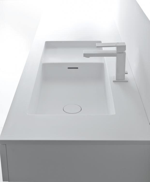 Waschbecken in mattem Weiß  - badezimmer waschtisch mit unterschrank
