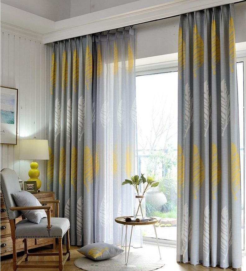 Yellow Grey Leaf Linen Sheer Blackout Curtain Set Curtains