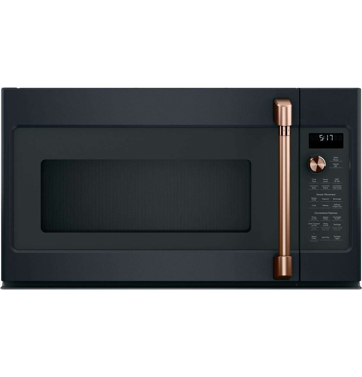 Cvm517p3md1 Overview Cafe 1 7 Cu Ft Convection Over The Range Microwave Oven Black And Copper Kitchen Copper Kitchen Appliances Gold Kitchen Accessories