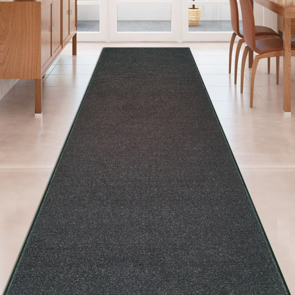 rug on carpet in hallway. Modren Hallway Custom Size BLACK Solid Plain Rubber Backed NonSlip Hallway Stair Runner Rug  Carpet 31 Inch Wide Choose Your Length 31in X 35ft  Click Image To Review  On In N