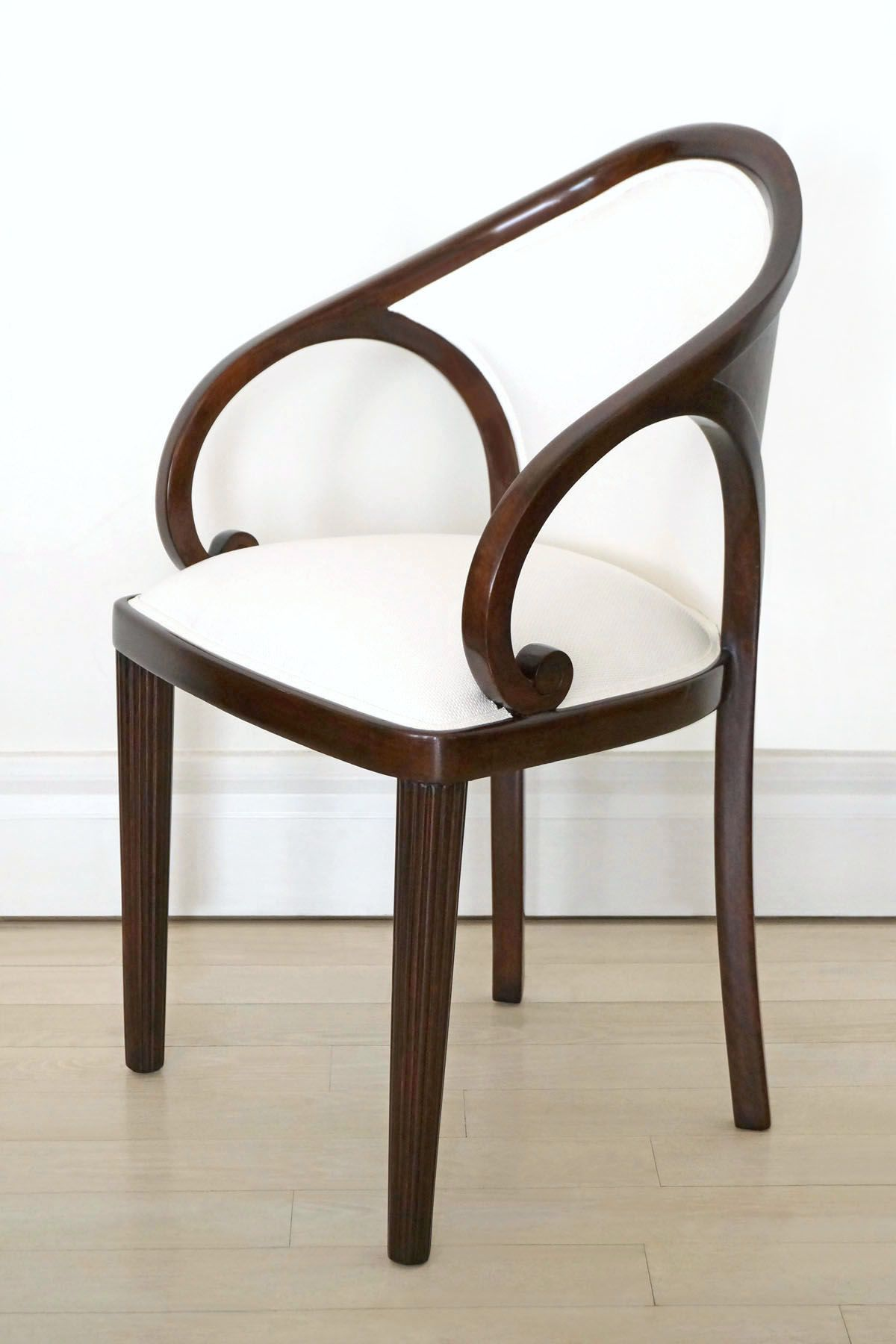Art deco office chair Swivel Art Deco Desk Chair With Fluted Legs Curved Wood Back And Scroll Arms France Circa 1940 Pinterest Art Deco Desk Chair With Fluted Legs Curved Wood Back And Scroll